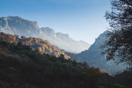 Bonita luz al atardecer en las montañas